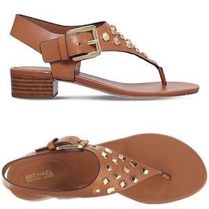 🍂 MK Kors ✦ Valencia Gold Stud ✦ Leather Sandal ✦